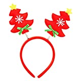 Fheaven Hot Sale Christmas Clasp Head Hoop Headband Santa Xmas Party Decor Double Hair Band (red)