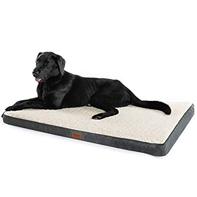 Petsure M/L/XL Orthopedic Dog Bed (30/36/44 inches) for Small, Medium, Large Pets Up to 50/75/100 lbs - Foam Dog Bed with Plush Fleece Top - Washable Cover - Grey/Denim Blue