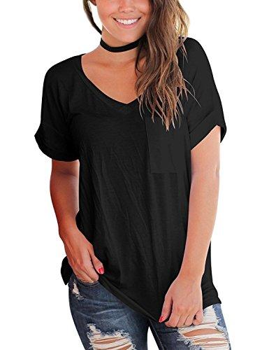 Women S Short Sleeve V Neck T Shirts Casual Loose Plain Basic Tee Tops Blouse Pocket