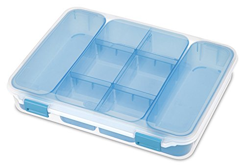 Sterilite 14028606 See-Through Divided Cases Aquarium Latches and Freshwater Tint Trays, Blue