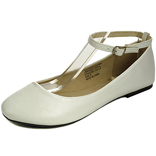 Price comparison product image Alpine Swiss Women's White Suede Lined Calla Ankle Strap Ballet Flats 7 M US
