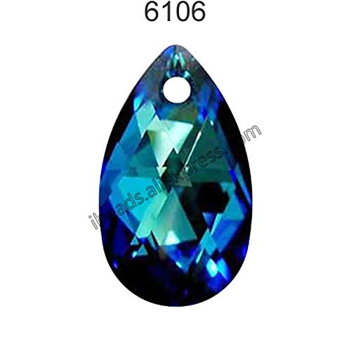 (Pukido (1 Piece) 100% Original Crystal from Swarovski 6106 Pear-Shaped Pendant from Austria Loose Beads Rhinestone DIY Jewelry Making - (Color: Crystal 001 BBL, Item Diameter: 22mm))