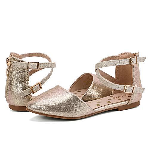 nerteo Girl's Pretty Glitter Ballet Flats Ankle Strap Dress Shoes Sandals (Toddler/Little Kid/Big Kid) Gold 1 M US Little Kid