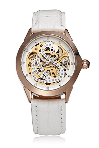 Women's Automatic self-wind Mechanical Skeleton Rhinestone Swan Leather Watch Gift Box CH324 (Womens Skeleton Automatic Watch)