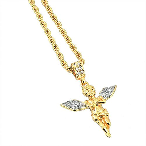 (Gold-Tone Hip Hop Bling Iced Out Stardust Wide Wing Angel with 3mm 24