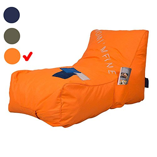 Livebest Floor Chair Couch Lazy Lounger-Bean Bag Chair Memory Foam Sofa Dirt-proof Oxford Fabric&Side Pocket Kids Age 2 Up,MOM I'M FINE,Orange