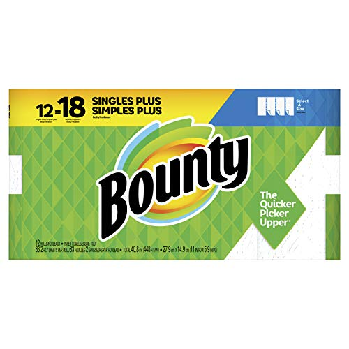 Bounty Select-A-Size Paper Towels, White, 12 Single Plus Rolls (Equal to 18 Regular Rolls)