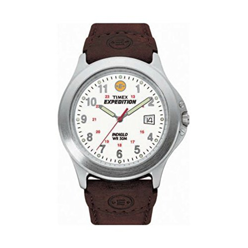 Timex Men's Expedition Metal Field Watch, Brown Leather Strap Dad's Gift Fathers - Meter 50 Indiglo