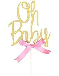 Rainlemon Glitter Gold Pink Bowknot Girl Oh Baby Cake Topper Birthday Party Baby Shower Cake Decoration