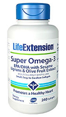 Life Extension Super Omega-3 EPA/DHA w/ Sesame Lignans and Olive (Extract 120 Softgels)
