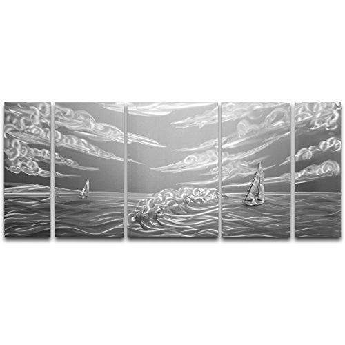 Artscape de las aguas turbulentas de metal 5-Panel hecho a mano Metal Arte de la pared, 24por 139.7cm