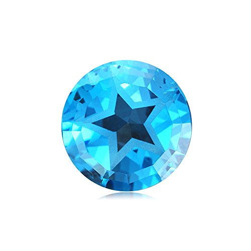Mysticdrop 6.27-6.53 Cts of 11 mm Texas Star AAA Loose Swiss Blue Topaz (1 pcs) Gemstone by Mysticdrop