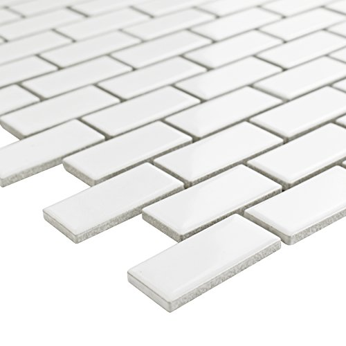 SomerTile FKOVBS11 Marion Subway Porcelain Mosaic Floor and Wall Tile, 11.875'' x 12'', Glossy White by SOMERTILE (Image #3)
