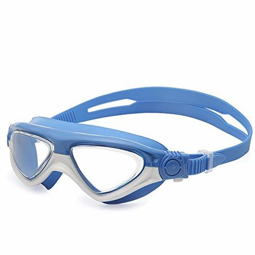 LXKMTYJ Lunettes de natation Imperméable et anti-buée pour les garçons et les filles Enfants bébé professionnel, bleu foncé blanc