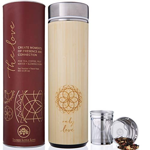 The Love Bamboo Tea Tumbler Thermos with Infuser + Strainer 511ml/18oz for Loose Leaf Tea, Coffee & Fruit Water Flask. Vacuum Insulated Travel Bottle. Leak Proof + BPA Free (Thermos Tea Tumbler)