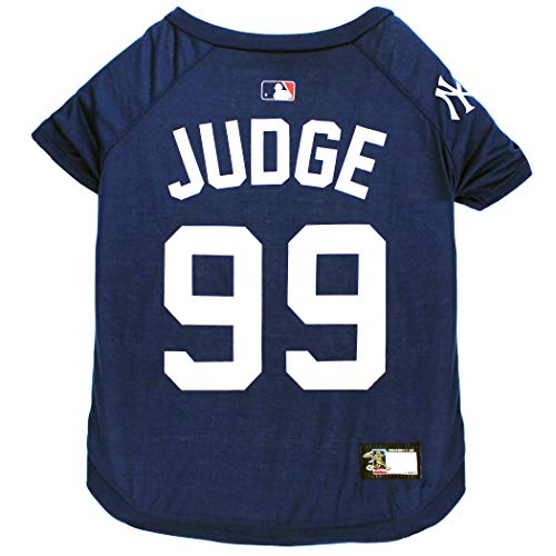 MLBPA Aaron Judge #99 TEE Shirt for Dogs & Cats. MLB New York Yankees Dog T-Shirt, Small | Sports Dress for Pets | Licensed Sporty Dog Shirt.