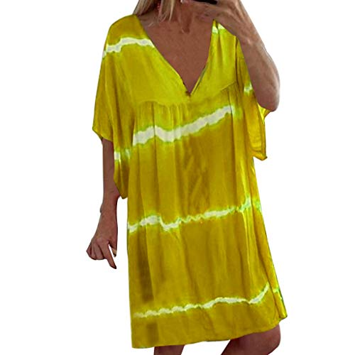 Dressin Plus Size Midi Dress Women Summer Plus Size Casual Pullover Print Mini Dresses Yellow ()