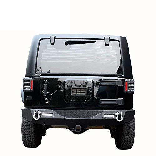 LEDKINGDOMUS Rear Bumper for 07-18 Jeep Wrangler Unlimited JK with 2x LED Lights & 2