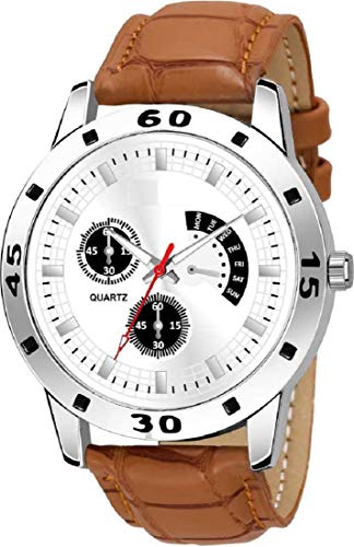 BRAND GALLERY Analogue Men's & Boys' Watch (Silver Dial Brown Colored Strap)