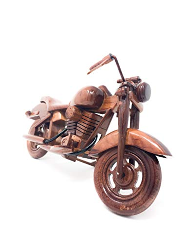 Sporty Motorcycle Replica Model Hand Crafted with Real Mahogany Wood