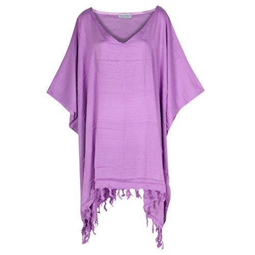 Tropicalsale Women's Lavender Simple Plain Caftan Tunic Top Big Plus Size