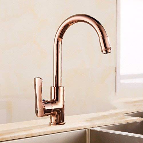 Ywqwdae Washroom Sink Mixer Tap copper European style gold kitchen redate Hot and cold Single hole ceramics