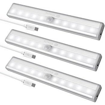 High Quality USB Rechargeable Closet Lights Motion Sensor 10 LED Portable Wireless Light  Bar Cabinet Kitchen Wardrobe Night