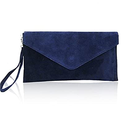 New Womens Genuine Italian Suede Leather Clutch Party Wedding Envelope Bag (Navy Blue) - clutches