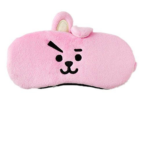 Bosunshine BTS Lovely Collaboration Silk Eye Mask Cute Rabbit or Koala Face Soft Eye Bags Adjustable Sleeping Blindfold for Kids Girls Adult for Yoga Traveling Sleeping Party (❤-2)