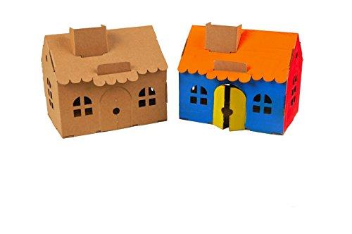 Review Leolandia House Money Box Creative DIY Cardboard Toy, Natural