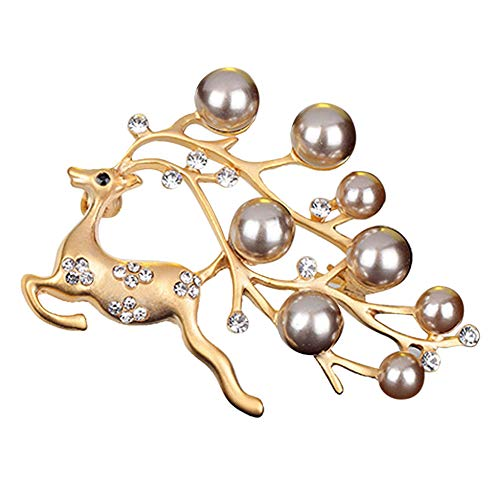 (Tanwpn Women Crystal Brooch Christmas Elk Plated Crystal Pearl Brooch Pin Jewelry Gift (Gold))