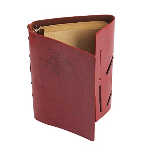 CYOS PU Leather Vintage Journal Diary Best Retro Soft Spiral Bound Leather Cover Notebook Travel Diary Loose Leaf Journal Blank 6 Ring Binder Planner (Red) by CYOS (Image #3)