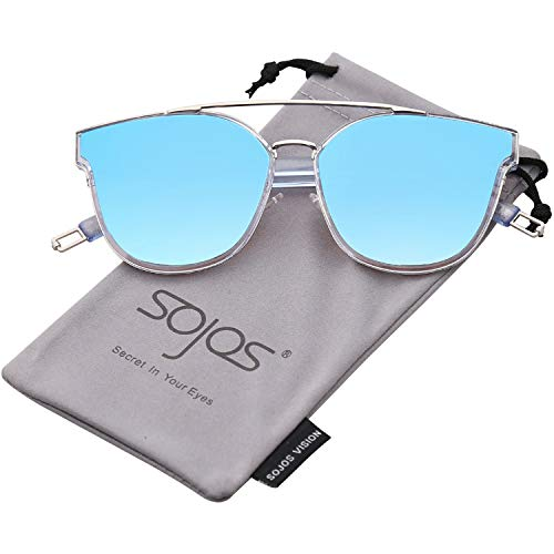 - SOJOS Fashion Square Oversized Sunglasses for Women Mirrored Lens SJ2038 with Silver Rim/Blue Mirrored Lens