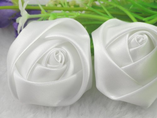 YAKA 20pcs Handmade stereo Fabric Rose Flowers for DIY Headdress Flowers Headbands Clips ,Rose Wedding Decor Hair Bow Appliques Craft Sewing Accessories (White)