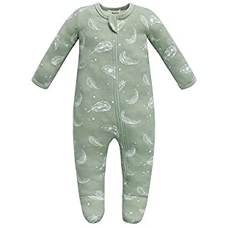 Owlivia Baby Organic Cotton Zip-Up Sleep N Play (3-6 Months, Feather)