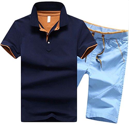 Alion Men's Lapel Cotton T-shirt + Fashion Casual Shorts Set for sale