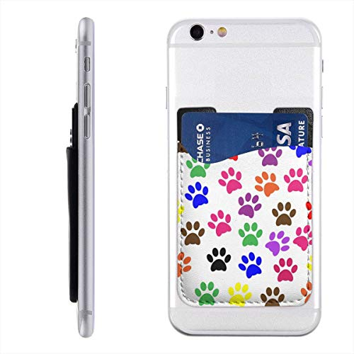 (Paw Prints Colorful Self Adhesive Cell Phone Slim Leather Wallet, Stick On Card Holder fits Most Cell Phones & Cases, Credit Card Holder Pocket Sleeve Covers Wallet for Men Women 2.4