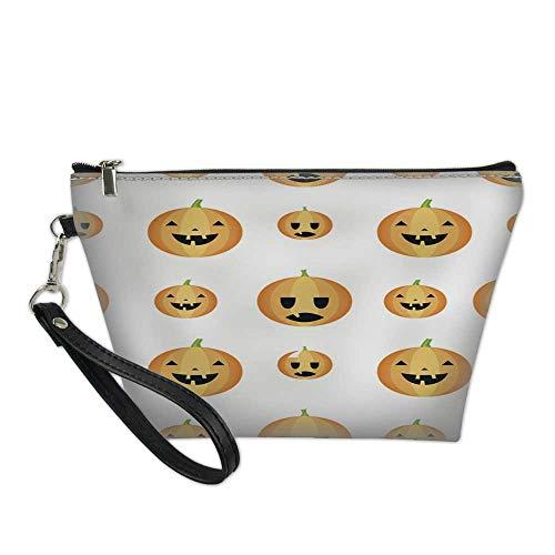 travel makeup bagcosmetic organizer bagSeamless Halloween pattern with pumpkins 8.5