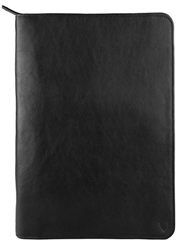 Hidesign Leather Zip File Folder Writing Pad with iPad/Tablet Pocket Black by Hidesign