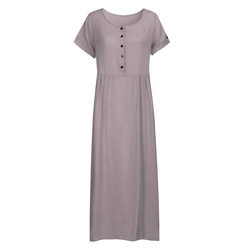 Nuewofally Maxi Dress for Women Splice Button Dress Solid Cotton Long Dress Casual Puffy Swing Dress Wedding Party(Gray,S)