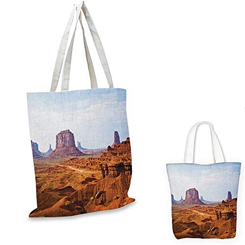 Desert thin shopping bag Monument Valley View from John Fords Point Merritt Butte Sandstone Image canvas tote bag Baby Blue Mauve Amber. 13