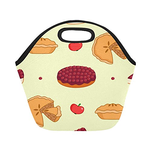 Baked Cherry Cheesecake - Insulated Neoprene Lunch Bag Cheesecake Dessert Afternoon Tea Large Size Reusable Thermal Thick Lunch Tote Bags For Lunch Boxes For Outdoors,work, Office, School