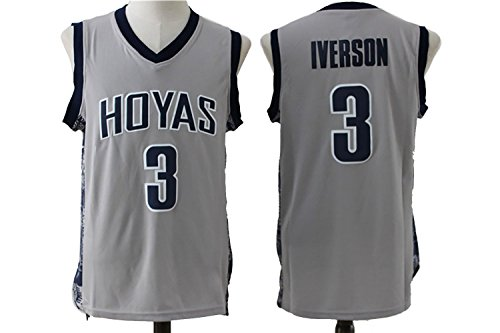 reputable site 49ac5 e6118 Mens Georgetown Hoyas College #3 Allen Iverson Throwback Embroidery  Basketball Jersey Gray M