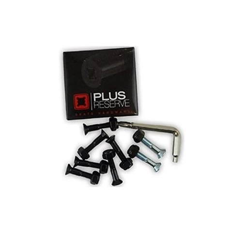 PLUS Reserve Plus Reserve Universal Black / Silver Skateboard Hardware Set - 1'' by Plus Reserve