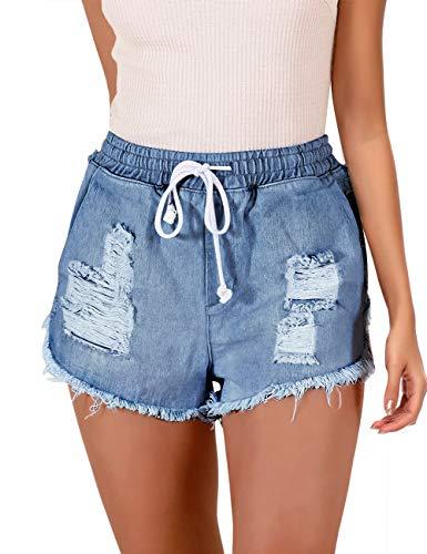 luvamia Women's Ripped Denim Jean Shorts Elastic Waist Drawstring Short Jean Pants M Blue Size X-Large
