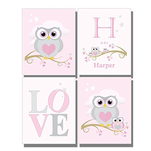 Baby Girl Pink Nursery Custom Wall Art Letters Name Initial Owl Decor Baby Shower Gift Personalize Girl's Bedroom Set of 4 Unframed Prints 8 x 10 inches