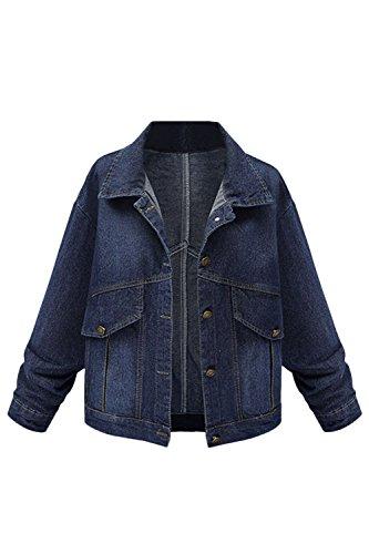 Lunghe Di Giacca Jeans Le Fanvans Donne A Pulsante Blu Maniche Giacche wC477q0xg