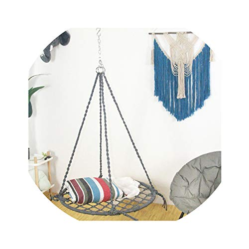 I'll NEVER BE HER Hand Woven Woven Swing Chair Outdoor Nylon Rope Garden Hammock Furniture Swing Suitable for Indoor and Outdoor Garden,Swing (Chair Uk Wicker Hanging)