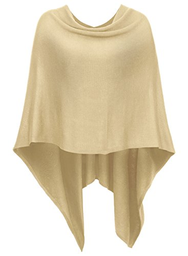 DJT Womens Solid Knit Short Asymmetric Wrap Poncho Topper Apricot