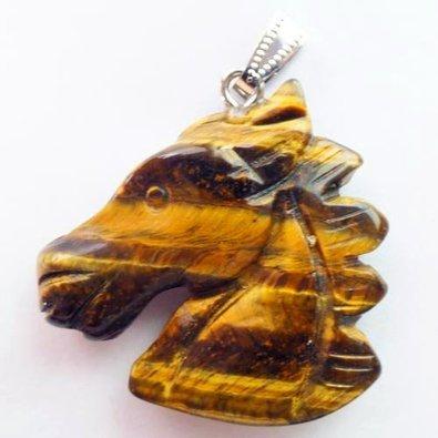 - Beautiful Carved Tiger Eye Gem Horse Head Pendant Bead